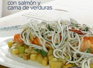 La Gula del Norte® con salmón y cama de verduras